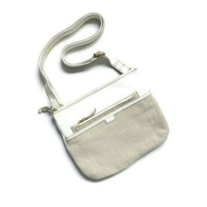 Fossil White Faux Leather Tan Canvas Crossbody Bag
